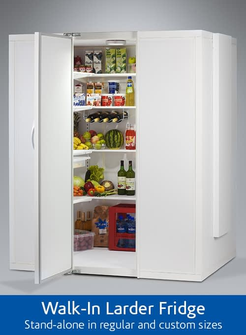 The Corner Fridge is a big fridge, the largest domestic fridge on the UK market. Easy to integrate with kitchen furniture.